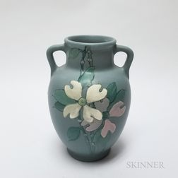 Arts and Crafts Dogwood Handled Vase