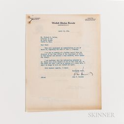 Two John F. Kennedy (1917-1963) Signed Documents Regarding an Immigration Case, 1954.
