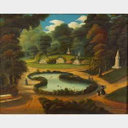 Attributed to Thomas Chambers ((London, New York, and Boston, 1808-1866) View of Forest Pond, Mount Auburn Cemetery, Cambridge, Massach