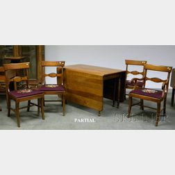 Set of Six Lewisburg Chair and Furniture Co. Classical-style Cherry Dining Chairs and a Federal-style Cherry De...