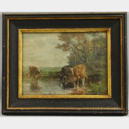 Charles Franklin Pierce (American, 1844-1920)      Cows Watering.
