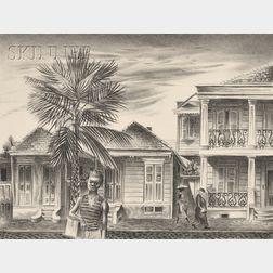 Aaron Bohrod (American, 1907-1992)      Rampart Street, New Orleans