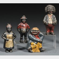 Four Painted Cast Iron Black Figural Still Banks