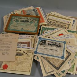 Assorted Printed Stock Certificates and Related Ephemera