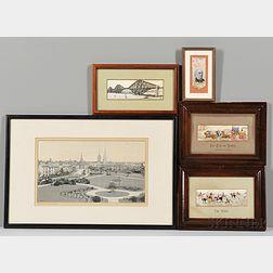 Five Framed Stevensgraph Pictures