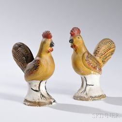 Pair of Chalkware Roosters