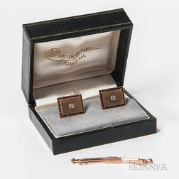 Pair of Lucien Piccard 14kt Gold, Diamond, and Garnet Cuff Links and a Swank 10kt Gold Tie Bar