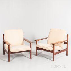 Two Danish Modern-style Lounge Chairs