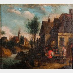 Dutch School, 17th Century Style      Village Scene with Stream and Figures Playing Cards Outside a Tavern