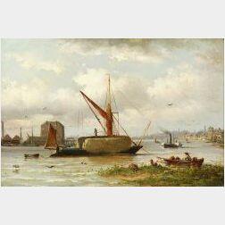 Henri Maes (British/Belgian, 19th Century)  A London Hay Barge