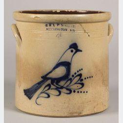 Cobalt Decorated Salt-Glazed Stoneware Bird Crock