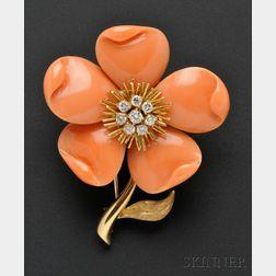 18kt Gold and Coral Flower Brooch, Van Cleef & Arpels