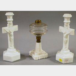 Pair of Pittsburgh Milk Glass Crucifix Candlesticks and a Kerosene Table Lamp Base