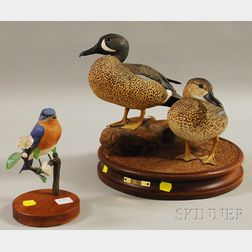 Two Robert and Virginia Warfield Carved and Painted Wooden Bird Figures