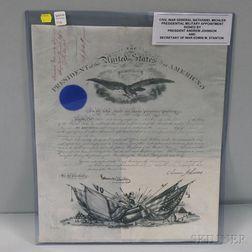 Andrew Johnson (1808-1875) Military Document