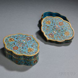 Pair of Covered Cloisonne Boxes