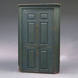 Blue-painted Pine Corner Cupboard
