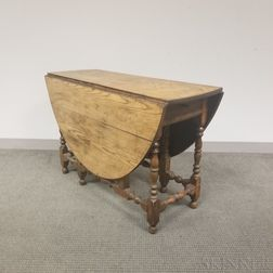 William and Mary Oak Gate-leg Drop-leaf Table