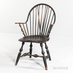 Black-painted Braced-back Windsor Continuous Armchair