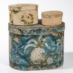 Three Hannah Davis Wallpaper Bandboxes and a Hat