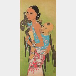 Tay Chee Toh (b. 1941) Watercolor, Mother and Child