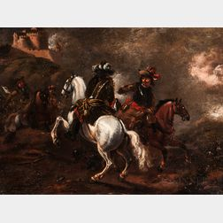 Pupil of Philips Wouwerman (Dutch, 1619-1668)      Cavalry Sortie from a Fort