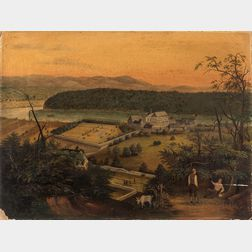 Anglo/American School, 19th Century      Town Scene on a River in a Mountainous Landscape