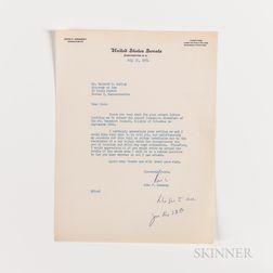 Kennedy, John F. (1917-1963) Typed Letter Signed to Richard S. Kelley, 31 July 1954.