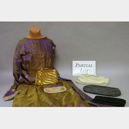 Five Beaded, Mesh, and Other Bags, and Three Mid-20th Century Dresses