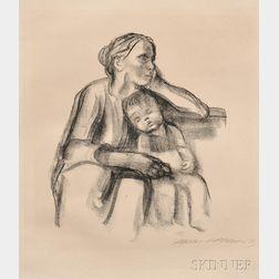 Käthe Kollwitz (German, 1867-1945)      Arbeiterfrau mit schlafendem Jungen
