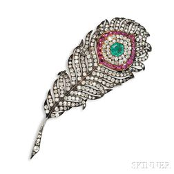 Fine Antique Peacock Feather Brooch