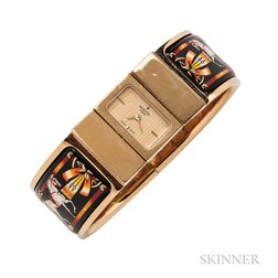"Lady's Enamel ""Loquet"" Bangle Bracelet Watch, Hermes"