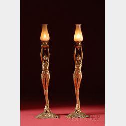 Pair of American Art Nouveau Cast-metal and Quezal Glass Figural Candlesticks