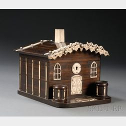 Whimsical Cottage-form Faux Grained and Bone-accented Cigar Box