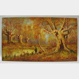 Louis Sinclair (American, 20th Century)       Wooded Autumn Landscape.