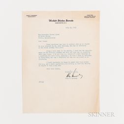 Two John F. Kennedy (1917-1963) Typed Letters Signed to Thomas Quinn, July 1954.