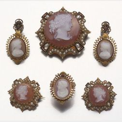 Suite of Victorian Carved Shell Cameo and Seed Pearl Jewelry