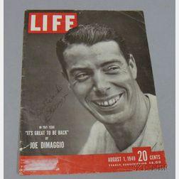 Joe DiMaggio Autographed Life   Magazine Cover
