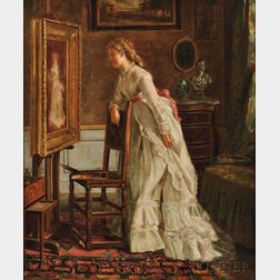 Eleanor Cunningham Bannister (American, 1858-1939)    Admiring Her Own Portrait/A Self Portrait