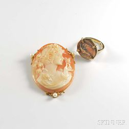 Shell Cameo Pendant/Brooch and a Ring