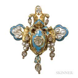 Antique Gold, Enamel, and Diamond Pendant/Brooch