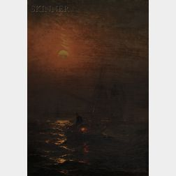 Charles Henry Gifford  (American, 1839-1904)      Fishermen at Work by Moonlight