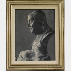 Framed 20th Century American School Oil on Artist's Board Portrait of Ben Franklin