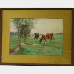 Charles Franklin Pierce (American, 1844-1920)      Cows Grazing by a Stream.