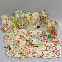 Collection of 19th and Early 20th Century Valentines and Ephemera