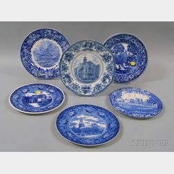 Six Blue and White Transfer-decorated Dinner Plates