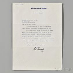 Kennedy, Edward M. (1932-2009) Typed Letter Signed, 15 September 1969.