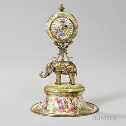 Viennese Silver-gilt and Enamel Clock