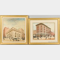 Hughson Hawley (American, 1850-1936)      Three Architectural Watercolor Renderings