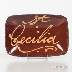 """St. Celia"" Slip-decorated Redware Loaf Dish"